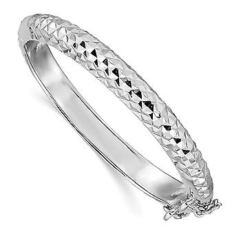 5.8mm 925 Sterling Silver Just Like Mommy Sparkle Cut With Safety Hinged for boys or girls Cuff Stackable Bangle Bracele