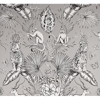 Floral Gris Fondo De Wallpaper Animal Impresión Leopardo babuinos árboles Hoja Selva Belgravia
