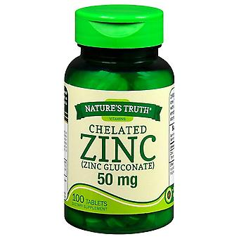 Nature's truth chelated zinc, 50 mg, tablets, 100 ea