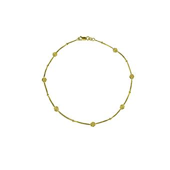 14k Yellow Gold Alternating Sparkle Cut and Polished Hexagon Station Adjustable Anklet 10 Inch Jewelry Gifts for Women