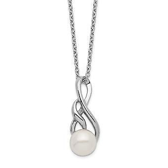 925 Sterling Silber Rhod Plat 7 8mm weiß Süßwasser kultiviert Eschrift Halskette 17 Zoll Schmuck Geschenke für Frauen