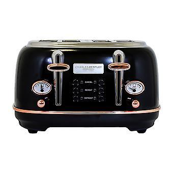 Charles Bentley 4 Scheibe Toaster Edelstahl Browning Control Zifferblatt mit 6 Ebenen schwarz & Rose Gold Crumb Fach Cancel Defrost Reheat Einstellungen