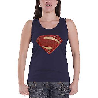 Naisten Superman Liivi Logo Superhero Tulosta T-paita Top Ladies Navy Virallinen