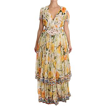 Dolce & Gabbana Multicolor Floral A-Line Shift Silk Crystal Dress