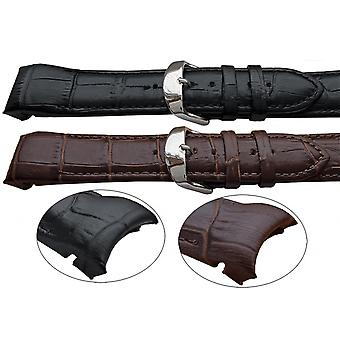 Crocodile grain watch strap premier padded curved ends
