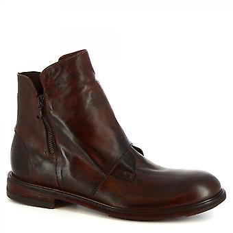 Leonardo Shoes Men's handmade ankle boots in brown calf leather side zip