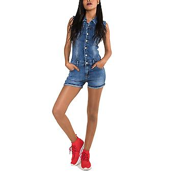 Ladies Short Jeans Overall Jumpsuit Pantsuit One Piece Sleeveless Biker Catsuit
