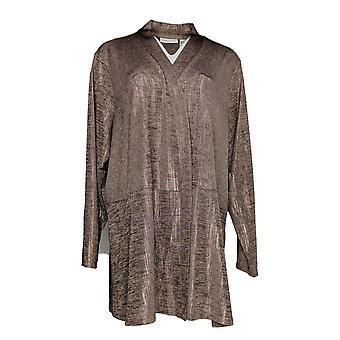 Susan Graver Women's Plus Sweater Foil Print Cardigan Pink A343099