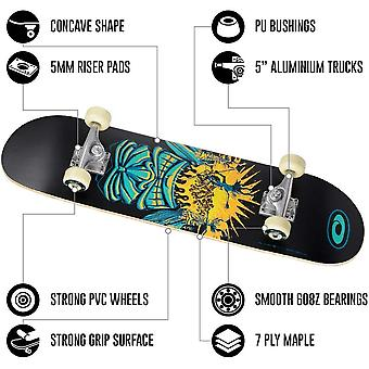 Osprey Beginners Double Kick Trick Skateboard - Savages (Black Tribal Design)