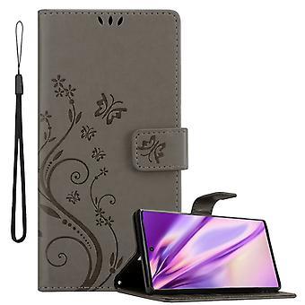Cadorabo tapauksessa Samsung Galaxy NOTE 10 PRO tapauksessa kansi - puhelimen tapauksessa kukka suunnittelu magneettinen lukko, seistä toiminto ja 3 kortin osastojen tapauksessa kotelo
