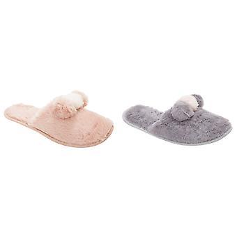 Slumberzzz Womens/Ladies Plush Mule Pom Pom Slippers