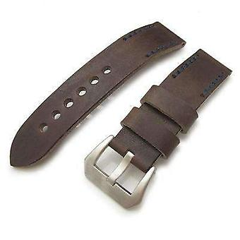 Strapcode leather watch strap 20mm, 22mm miltat pull up leather russet watch strap, navy hand stitches