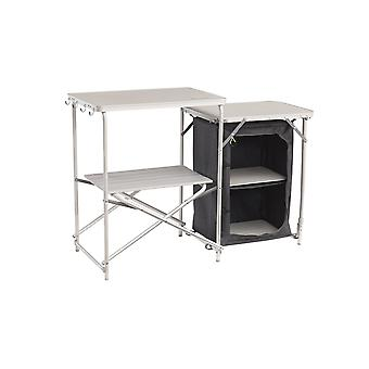 Outwell Samos Aluminium Kitchen Table With 2 Shelves White