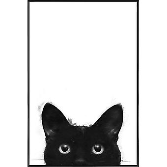 JUNIQE Print - Are You Awake Yet - Cats Poster in Zwart-wit