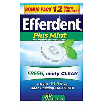 Efferdent tablets, plus mint, 90 ea