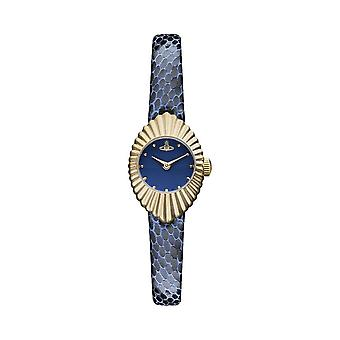 Vivienne Westwood Watches Vv096nvnv Concertina Navy Blue Leather & Gold Watch