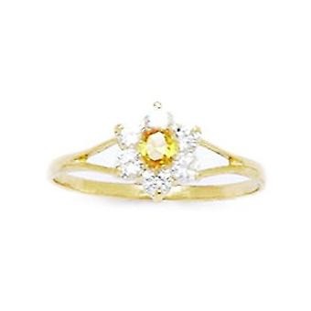 14k Yellow Gold Yellow CZ Cubic Zirconia Simulated Diamond Size 5.5 Flower for boys or girls Ring