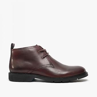 Roamers Stefan Mens Leather Lace Up Chukka Bottes Oxblood