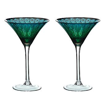 Artland sett med 2 Peacock Martini glass