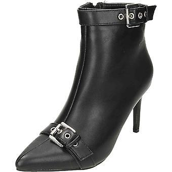 Koi Footwear Black High Heel Stiletto Ankle Boots Point Buckle Strap