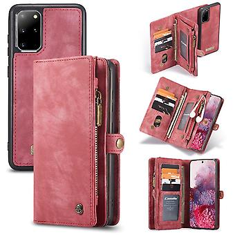 CASEME Samsung Galaxy S20 Plus Retro Leather Wallet Case - Red