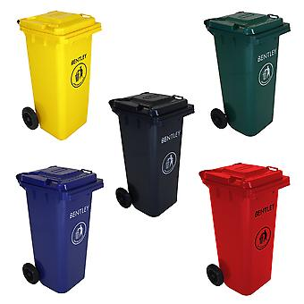 Charles Bentley Outdoor Household Waste Medium Rubbish Wheelie Bin - Lightweight Up Frost Resistant - 120 L