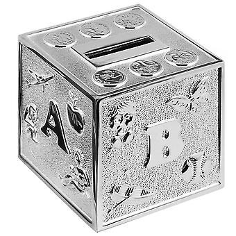 Orton West ABC Cube Money Box - Silver