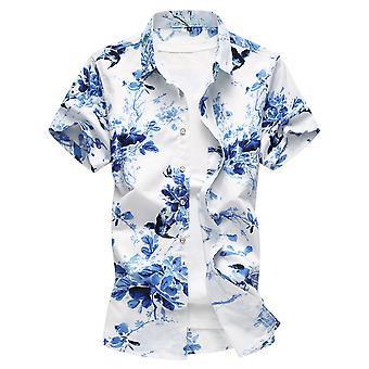 Allthemen Men's Cotton Short Sleeve Shirt Plant Floral Big Size Short Shirt