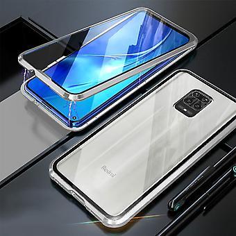 Ímã de 360 Graus de duplaface / Caixa de vidro Caso de Telefone Para-choque prata para Xiaomi Redmi Note 9S / 9 Pro