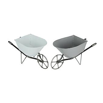 Set of 2 Enamel Painted Metal Decorative Wheelbarrow Planters Gray and White