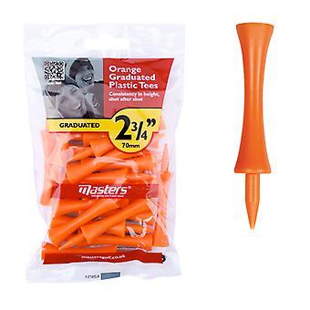 Masters Kunststoff Graduierte Golf Tees 2 3/4'' Tasche 20 Orange