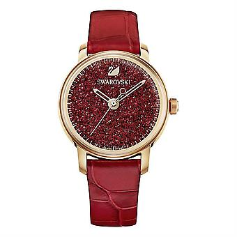 Swarovski 5295380 kiteinen tuntia nahkahihna punainen ruusu kulta sävy hyvät katsella