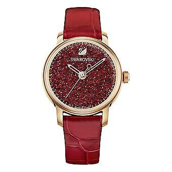 Swarovski 5295380 Kristallin Stunden Lederarmband Rot Rose gold Ton Damenuhr