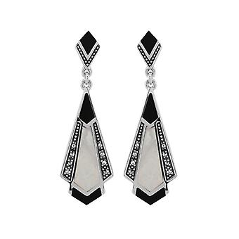 Art Deco Style Cabochon Black Onyx, Mother of Pearl & Marcasite Drop Earrings in 925 Sterling Silver 27075