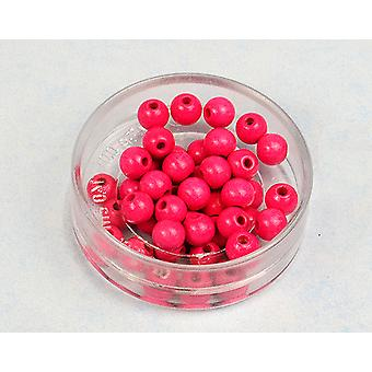 8mm Neon Pink Wooden Threading Beads Adults Crafts - 45pk