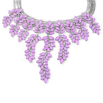 Simulé Purple Colour Resin Leaf Waterfall Collier Taille 17