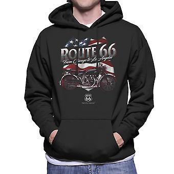Route 66 US Flag & Motorcycle Men's Hooded Sweatshirt