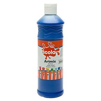 Scola Artmix Ready Mixed Tempera Paint 600ml (Brilliant Blue)