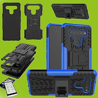 עבור LG K41S מקרה היברידי 2-חתיכת כחול + מזג טלפון זכוכית שרוול כיסוי שרוול