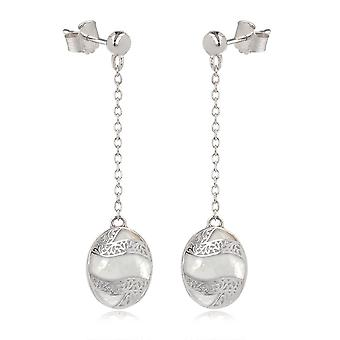 ADEN 925 Sterling Silver White Mother-of-pearl Oval Shape Earrings (id 4265)