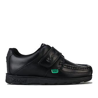 Boy''s Kickers Children Fragma Lo Strap Leather Shoe in Black
