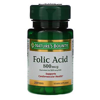 Natur's Bounty, folsyra, 800 mcg, 250 tabletter