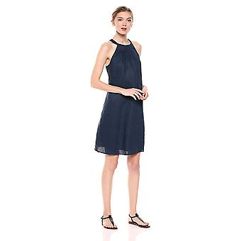 28 Palms Women's 100% Linen Halter Shift Dress, Navy, X-Small