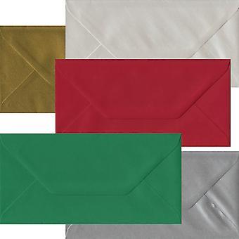 Xmas pakke 50 DL gummierede konvolutter-fem festlige farver