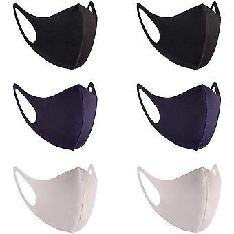 6 kpl muoti kangas kangas kasvot suojaa, unisex earloop 6 väriä pestävä, uudelleenkäytettävä