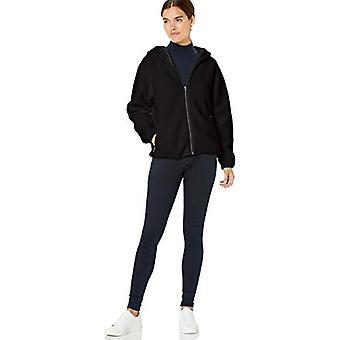 Brand - Daily Ritual Women's Teddy Bear Fleece Hooded Zip Jacket, Blac...