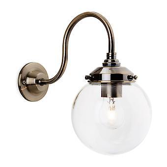 1 Light Wall Light Antique Brass, Clear Glass Shade, E27