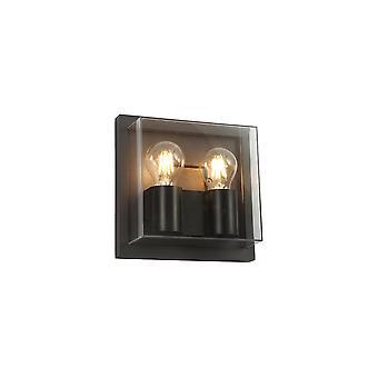 Luminosa Lighting - Flush Wandleuchte, 2 x E27, IP65, Anthrazit, Übersichts-PC