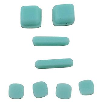 Feet and screw cover set for ds lite console rubber silicone with adhesive replacement - ice blue | zedlabz