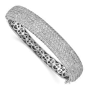 925 Sterling Silver Polerad Prong set Rhodium pläterad med CZ Cubic Zirconia Simulerad Diamant gångjärn manschett stapelbar förbud